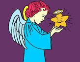 Desenho Anjo e estrela pintado por mineiro