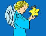 Desenho Anjo e estrela pintado por RegisAssun
