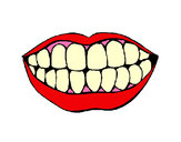 Desenho Boca e dentes pintado por luzinda