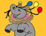 Desenho Elefante com 3 balões pintado por Vidafeliz
