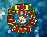 Desenho Guirlanda de Natal e coelhito pintado por ImShampoo
