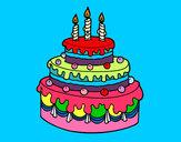 Desenho Torta de Aniversário pintado por graze