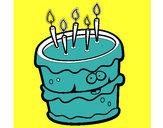 Desenho Bolo de aniversário 2 pintado por mmmmm