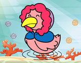 Desenho Pato em inverno pintado por livia2209