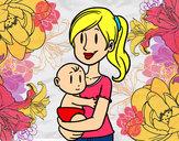 Desenho Em braços da mãe pintado por Jhuliia