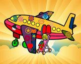 Desenho Avião levando bagagem pintado por lamf