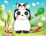 Desenho Mamã panda e filho pintado por ImShampoo