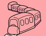 Desenho Trem a caminho pintado por carolinda2