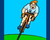 Desenho Ciclista com gorro pintado por luzinda