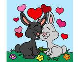 Desenho Coelhos no amor pintado por ImShampoo