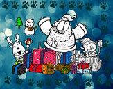 Desenho Papai Noel com presentes e alegria pintado por RAFAELMOTA