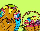 Desenho Cesta com ovos de Páscoa pintado por Mariaana