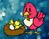 Desenho Mamã pássaro pintado por luzinda