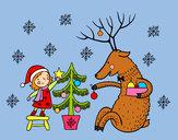 Desenho Menina e rena pintado por bbbb