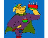 Desenho Super herói com presente pintado por papagaio