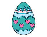 Desenho Ovo com corações pintado por CarolCini
