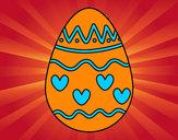 Desenho Ovo com corações pintado por DaniBrites