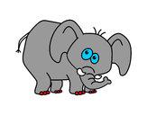 Desenho Elefante envergonhado pintado por luzinda