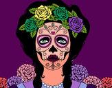 Desenho Mulher caveira mexicana pintado por lukaspx