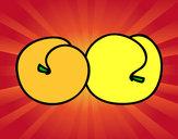 Desenho Um par de pêssegos pintado por Chocante