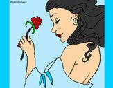 Desenho Princesa com uma rosa pintado por LaahSoares