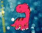 Desenho Saurópode pintado por luzinda
