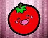 Desenho Tomate sorridente pintado por leil