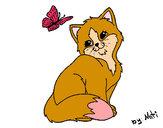 Desenho Gatito e Borboleta pintado por daniela200