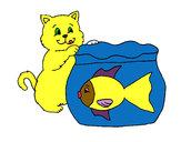 Desenho Gato e peixe pintado por MJJR