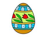 Desenho Ovo de páscoa com tulipa pintado por suelifranc