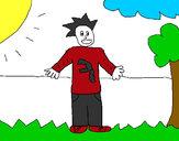 Desenho Rapaz no campo pintado por Bhunna