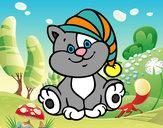 Desenho Gato com chapéu pintado por ReginaLua