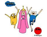 Desenho Jake, Princesa Bubblegum e Finn pintado por IgorF