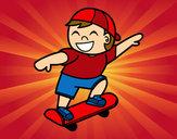 Desenho Menino com skate pintado por IgorF