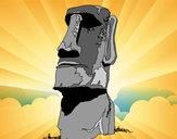 Desenho Moai da Ilha de Páscoa pintado por ImShampoo