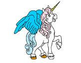 Desenho Unicórnio com asas pintado por mico