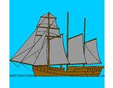 Desenho Veleiro de três mastros pintado por vitorcely