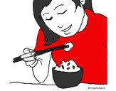 Desenho A comer arroz pintado por bhun