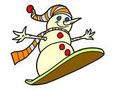 Desenho Boneco de neve descida em prancha de neve pintado por CRRW