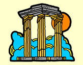 Desenho Templo de Zeus Olímpico pintado por CRRW