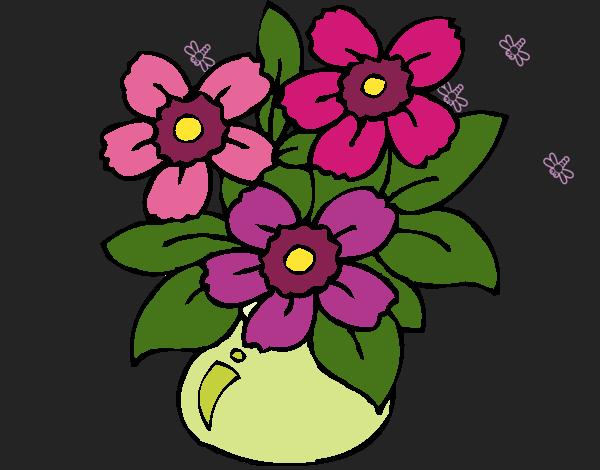 Desenho Jarro de flores pintado por Missim