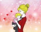 Desenho Mãe levando o bebê pintado por KETLE