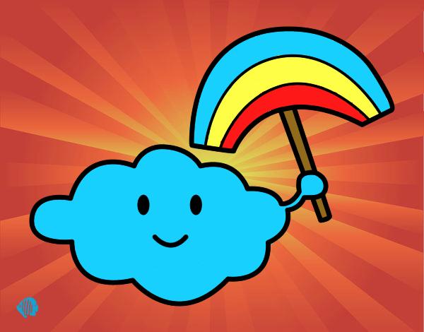 Desenho Nuvem com arco-íris pintado por luzinda
