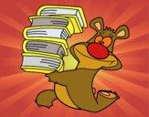 Desenho Urso com livros pintado por saralee
