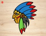 Desenho Cara de índio chefe pintado por letician