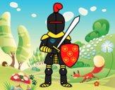 Desenho Cavaleiro com espada e escudo pintado por Gui2016