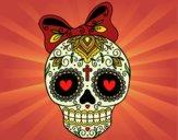 Desenho Caveira mexicana com laço pintado por Missim