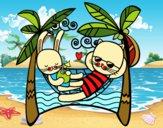 Desenho Coelhos em redes de descanso pintado por saralee