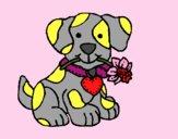 Filhote de cachorro com uma flor na boca