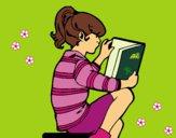 Desenho Menina a ler pintado por Missim